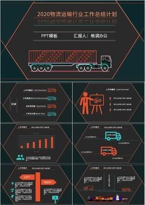 黑色时尚高端物流运输行业工作总结计划PPT模板