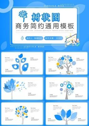 精美蓝色大气小清新创意树状图PPT模板