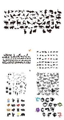 大气各种动物剪影幻灯片小图片PPT素材