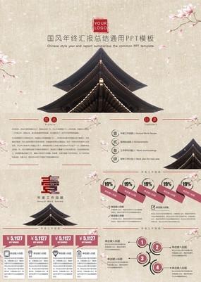 粉色简约中国风商务年终工作汇报通用PPT模板