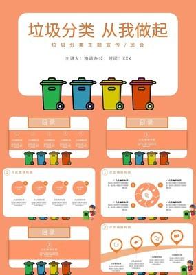 橙色手绘风校园垃圾分类主题宣传班会通用PPT模板