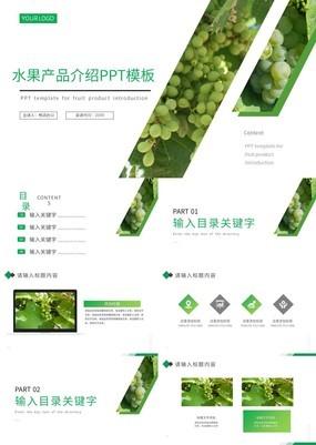 绿色清新简约过食品安全水果产品介绍PPT模板