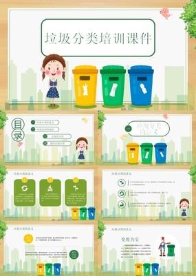 清新卡通扁平化生活垃圾分类主题培训课件PPT模板