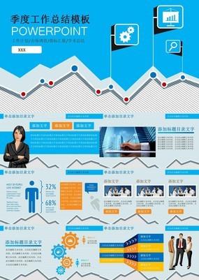 蓝色商务扁平化企业产品季度市场分析调查PPT模板