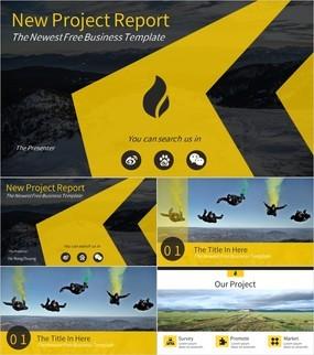 欧美风黑黄色新项目工作报告PPT模板