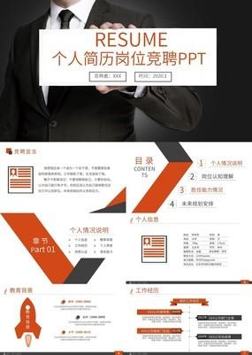 扁平化商务风创意个人简历PPT模板