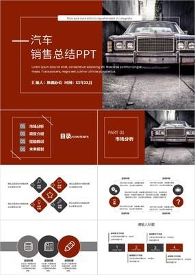 红色商务风汽车行业销售总结计划PPT模板
