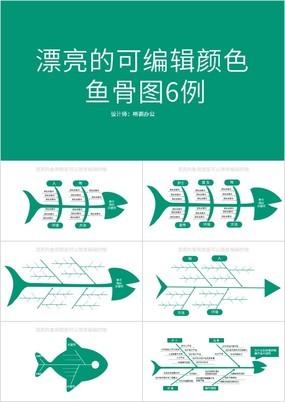 绿色漂亮的可编辑鱼骨图6例PPT图表