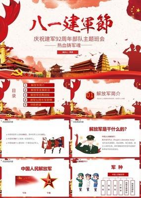 红色党政风庆祝建军节主题班会PPT模板