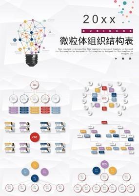 彩色简洁微立体企业组织结构表动态PPT模板