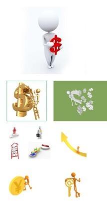 经济金融相关系列3D小人PPT素材图片