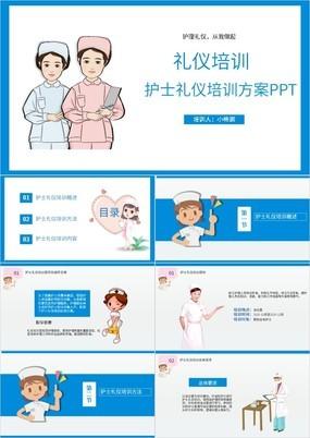 蓝色卡通风格医疗护理礼仪培训方案PPT模板