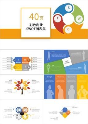 彩色商业SWOT分析图表40P合集PPT模板