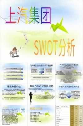 上汽集团汽车行业SWOT分析案例PPT模板