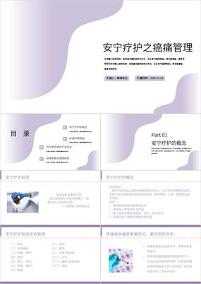 淡紫渐变癌痛患者的安宁疗护及健康教育PPT模板