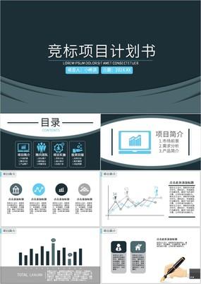 蓝黑简约商务风竞标项目计划书PPT模板