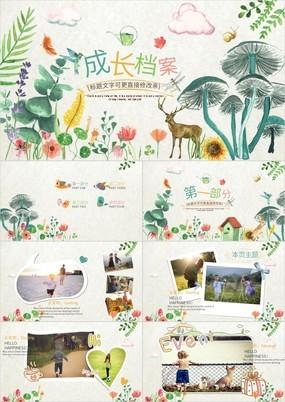 森林花卉卡通小动物儿童成长纪念电子相册PPT模板