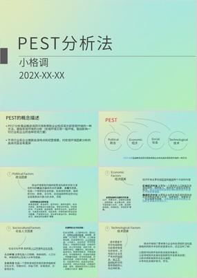 绿色渐变简约PEST分析法概念及案例分析PPT课件
