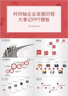 高端红色简约企业时间轴企业发展历史PPT模板