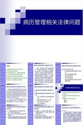 浅蓝色简约病历管理相关法律问题探讨PPT模板