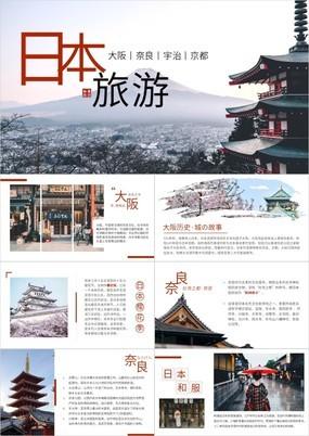 简约日本印象日本城市介绍及旅游宣传推介PPT模板