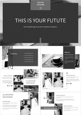 黑白灰杂志风背景服装企业宣传PPT模板