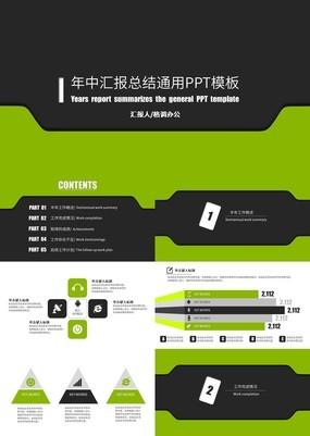 绿色简洁年中汇报总结通用动态PPT模板