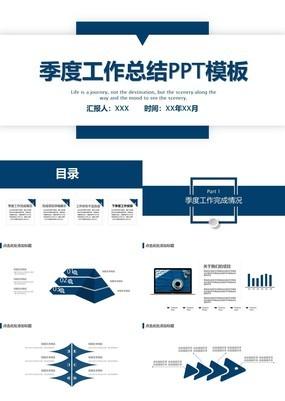 蓝色简约风企业部门季度工作规划总结通用PPT模板