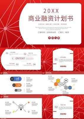 红色简约商业企业融资计划书PPT模板