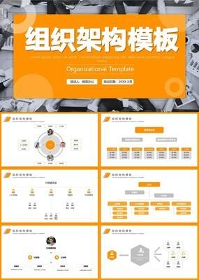 高端橘色清新风企业公司组织架构图动态PPT模板