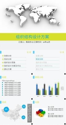 黄蓝色组织设计方案图表通用PPT模板