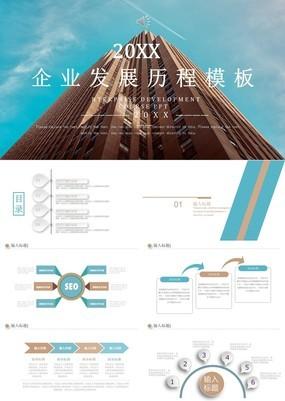 浅色建筑风房地产行业企业发展历程时间轴PPT模板