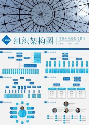 高端商务蓝系企业组织架构图人事部组织PPT模板