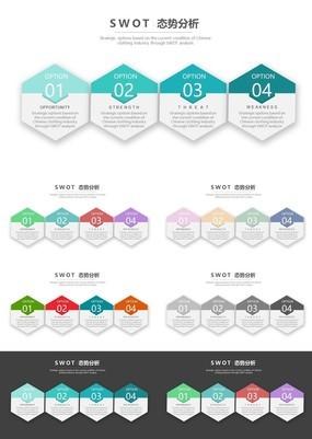 彩色精煤微立体SWOT分析图PPT图表五色版