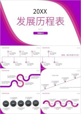 紫色创意大气发展历程时间轴PPT图表
